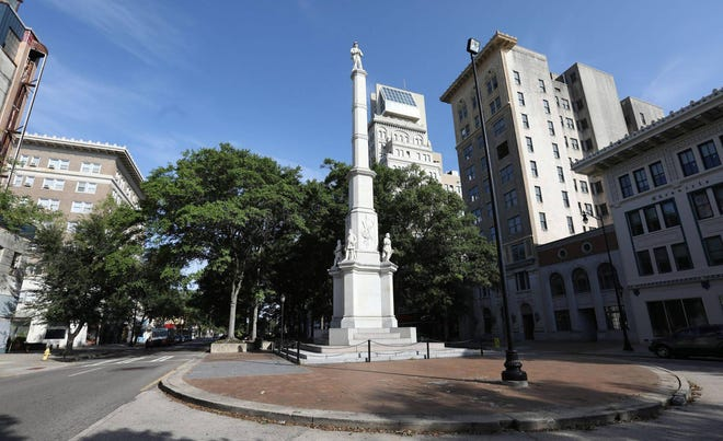 Augusta's Confederate monument stands in the Broad Street median in downtown Augusta. The local chapter of the National Action Network will rally Saturday to remove it.