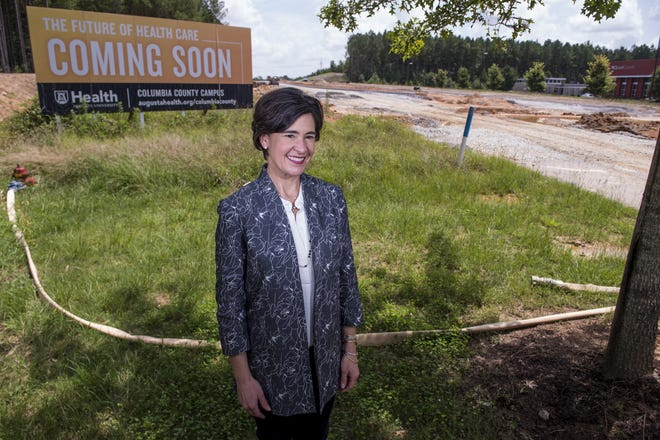 AU Health System CEO Katrina Keefer stands at the future site of what will be the first hospital in Columbia County in Grovetown, Ga., Wednesday afternoon, August 26, 2020.