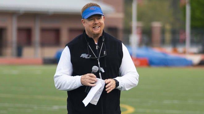 Savannah State head football coach Shawn Quinn during the 2020 Spring Orange and Blue Game.