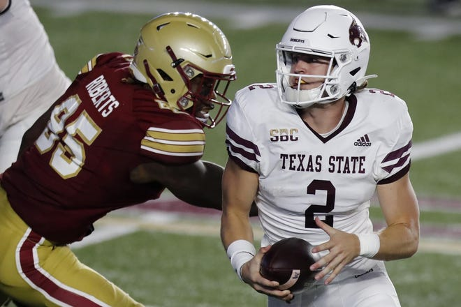 Texas State quarterback Brady McBride, who threw for more than 400 yards and five touchdowns in last week's win over Arkansas State, was named the Sun Belt's offensive player of the week.