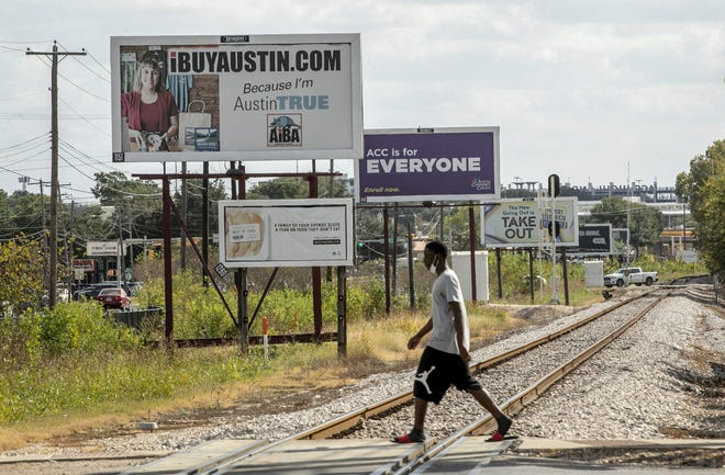 Billboards are lined up along Airport Boulevard. The U.S. Supreme Court said Monday that it will weigh the legality of Austin's limits on digital billboards during its next term, which will begin in October.