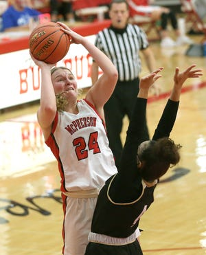 McPherson's Grace Pyle (24), shown in earlier action this season, chipped in 24 points during McPherson's 69-21 win over Winfield.