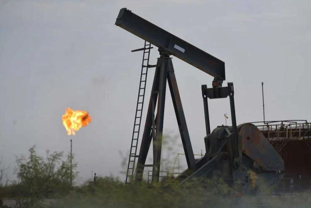 In 2019 — before a 2020 oil crash hampered industry operations — the Texas Railroad Commission granted 6,972 permits allowing companies to flare, like this one in Loving County in West Texas, or vent natural gas, a 40-fold increase from the start of the oil fracking boom a decade ago. It's now an issue in the Railroad Commission race.