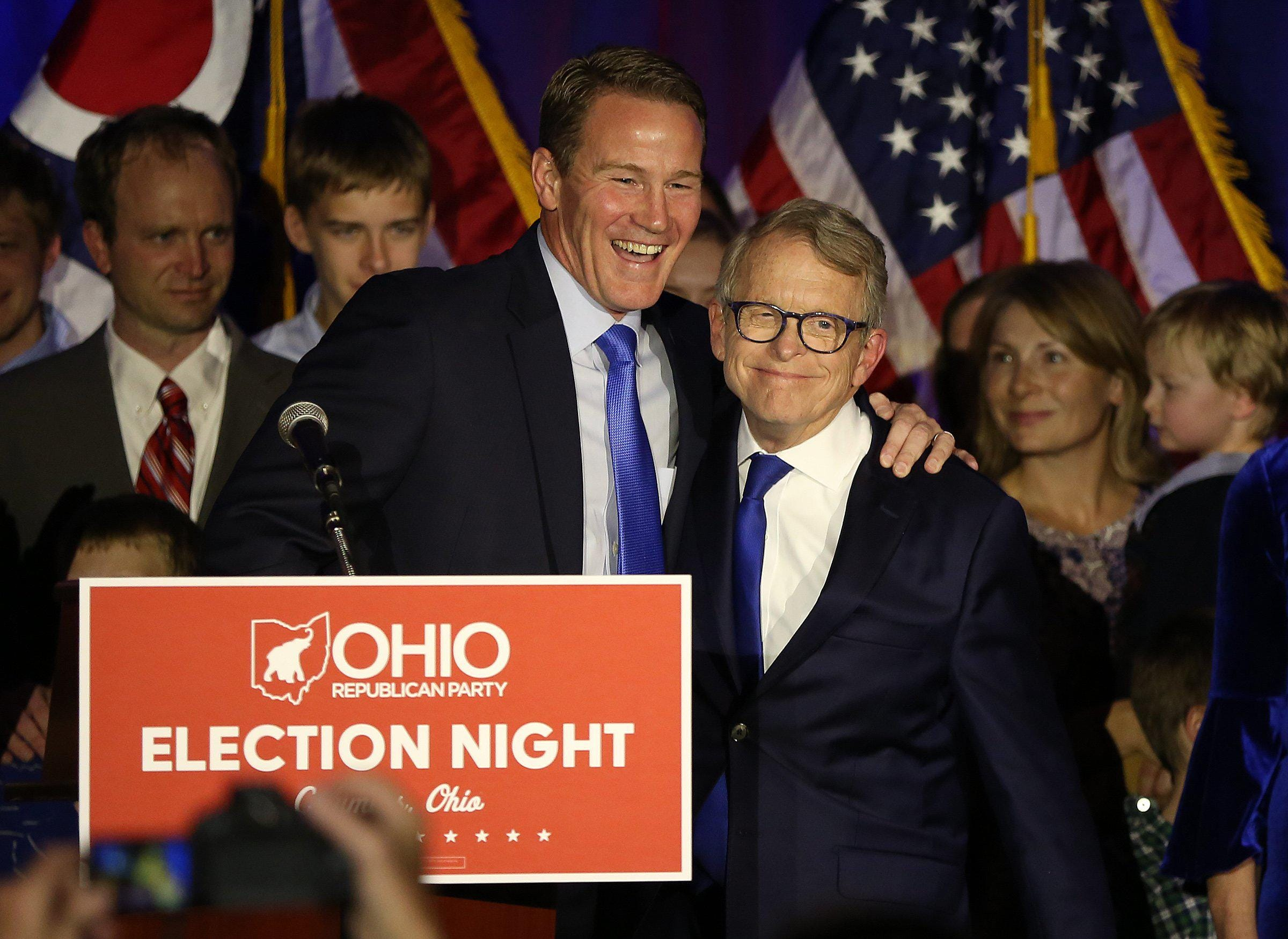 Gov. Mike DeWine celebrates his win of the 2018 election.