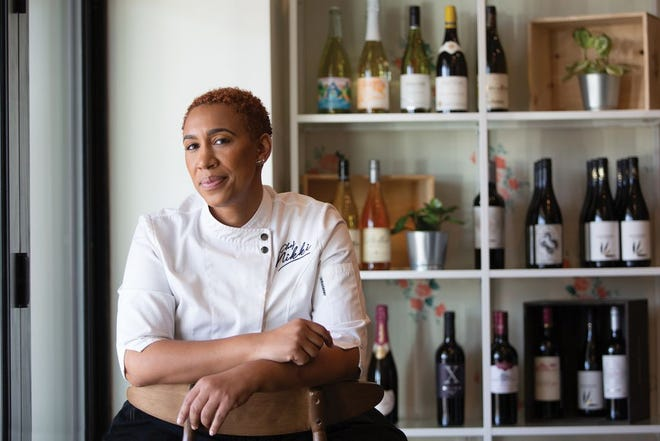 Chef Nikki Steward at the now closed Ambrose and Eve, where she often worked out of the kitchen