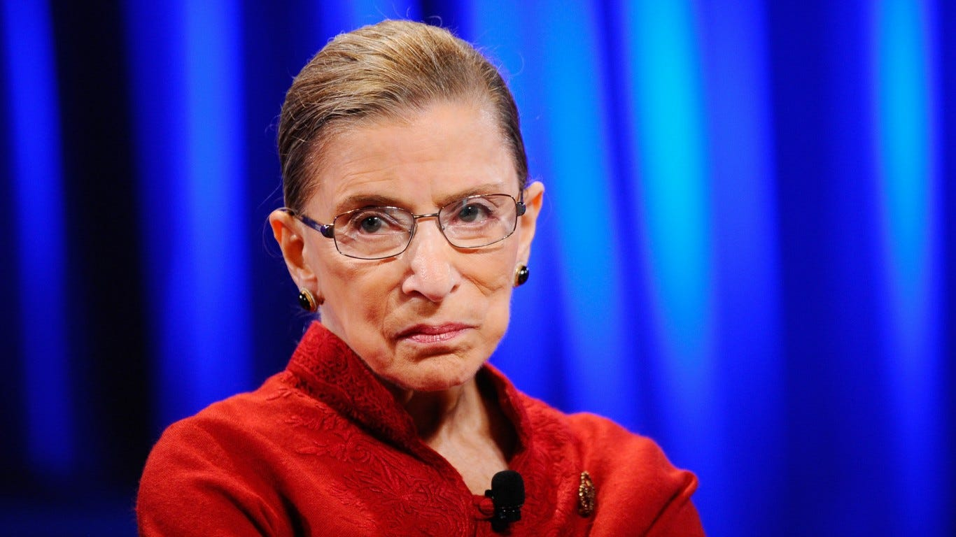 Supreme Court Justice Ruth Bader Ginsburg apologized for speaking out against President Donald Trump. After the liberal justice's death in September 2020, Trump picked Amy Coney Barrett as her successor, giving the court a 6-3 conservative tilt.