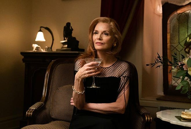 "Michelle Pfeiffer stars as a widowed socialite who has managed to burn through all of her considerable fortune in ""French Exit."""
