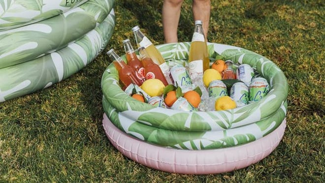 With this mini-pool, a cool drink is only ever an arm's length away.