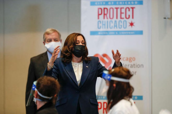 Vice President Kamala Harris speaks during her tour of the International Union of Operating Engineers Local 399 union hall, currently serving as a COVID-19 vaccination site, in Chicago on Tuesday.