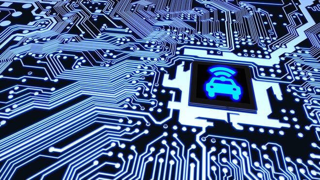 Computer chip with car sensor image