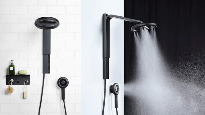 This luxurious shower head uses significantly less water.