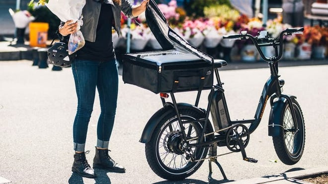 This cool e-bike makes it easy to run errands around town.