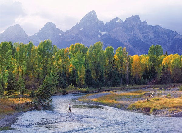 The ranch location region includes spectacular scenery, views of Grand Teton, and is a prime fly-fishing location in the valley on Fish Creek and the Snake River.