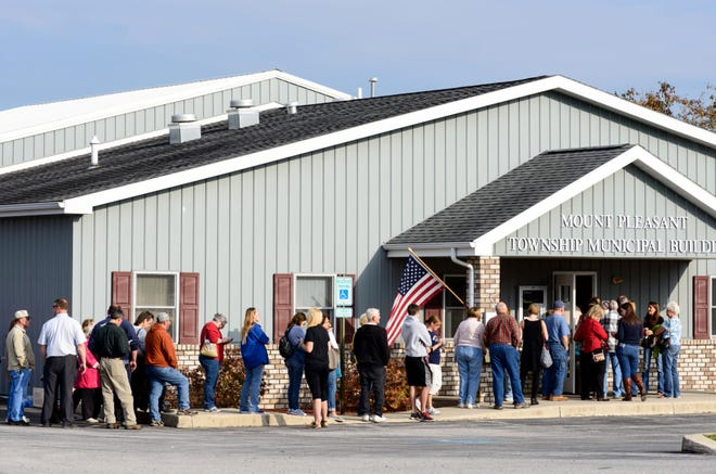 Voters line up to cast their ballots Nov. 8, 2016, in the 2016 general election in Mount Pleasant Township, Pennsylvania.