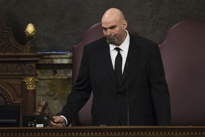 Lt. Gov. John Fetterman gavels in a joint session of the Pennsylvania House and Senate before Democratic Gov. Tom Wolf on Tuesday, Feb. 5, 2019.