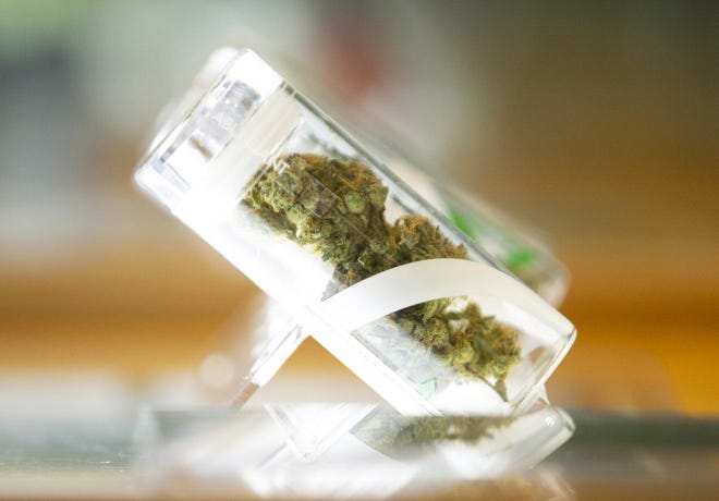 A marijuana flower is seen in a jar in a display case at the Harvard medical marijuana dispensary in Scottsdale, Ariz., on Nov. 5. Photo by Dave Wallace of The Republic