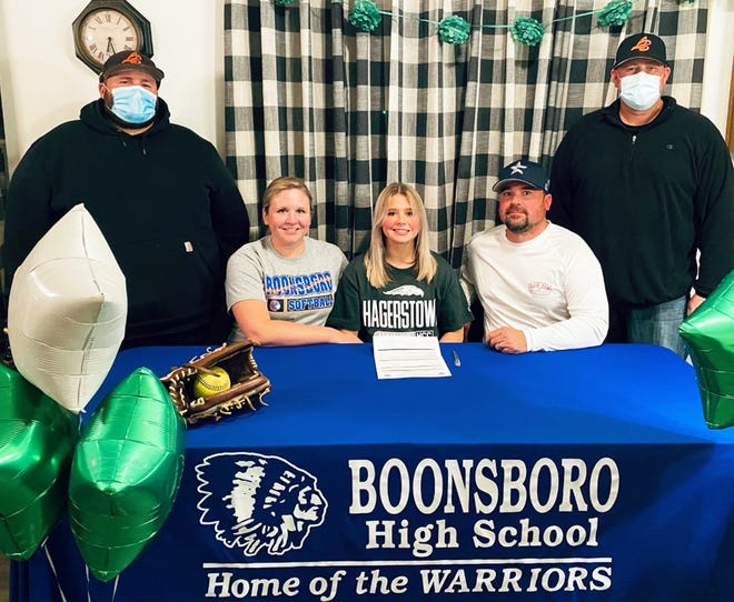Boonsboro senior Madison Heuer, front row center, signed a letter of intent to continue her softball career at Hagerstown Community College.Heuer will join the softball team as an outfielder. Also in the front row are mother Julie Heuer (left) and father Jeff Heuer (right). In the back are travel coaches Justin Conner (left) and Troy Taylor (right).