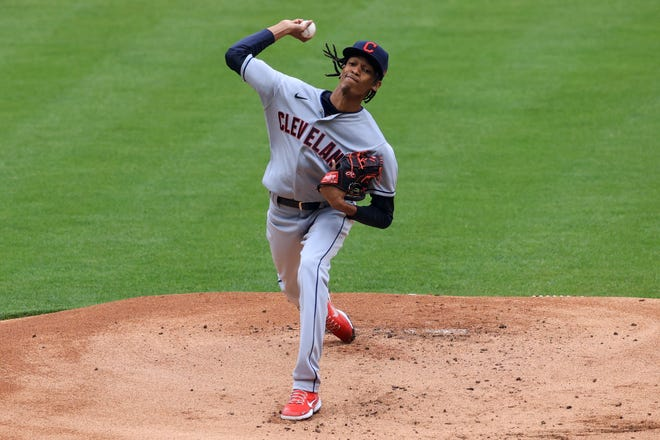 Cleveland starting pitcher Triston McKenzie is struggling to command his pitches in the early portion of the 2021 season. [Aaron Doster/Associated Press]