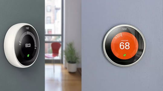 """This Google Nest thermostat """"learns"""" what temperature to keep your home at."""