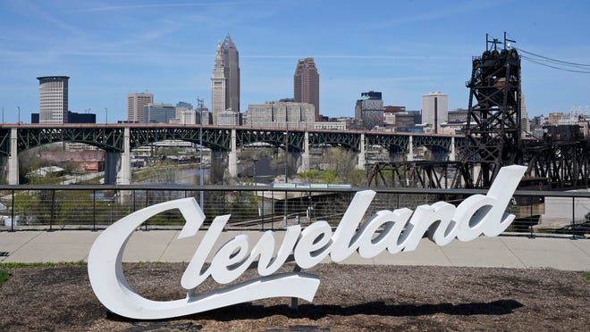 The Cleveland skyline is shown, Tuesday, April 13, 2021, in Cleveland. After going all virtual in 2020 due to the COVID-19 pandemic, the three-day NFL Draft, which has grown into one of America's biggest, non-game sporting events, returns with an outdoor event and thousands of fans. (AP Photo/Tony Dejak)