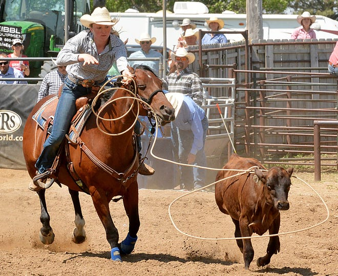 Samantha Jenc of Watertown connects during the breakaway roping Sunday during the Watertown Regional High School Rodeo at Derby Downs. Results will be posted online at www.thepublicopinion.com and in Tuesday's Public Opinion.