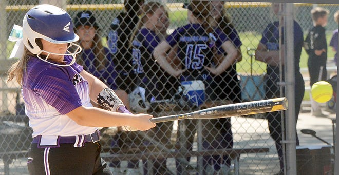 Grace Ortmeier of the Watertown Force connects with a pitch in a U16/18 division game over the weekend in the 45th Joe Young Memorial Girls Fastpitch Softball Tournament at Koch Complex.