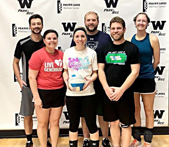 Block Party won the Intermediate League championship in the Watertown Park and Rec Coed Volleyball League. Team members include, from left in front, are Gina Radue, Suzi Haugly and Sam Kleinke; and back, Philip Schroeder, Mike Haugly and Kelly Bergan. Not pictured are Dan and Amber Guthmiller.