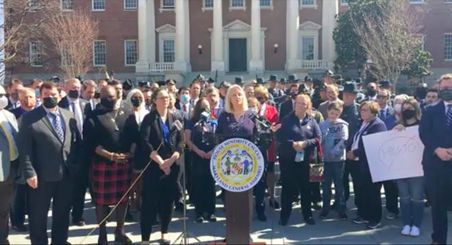 District 7 Delegate and House Minority Whip Kathy Szeliga held a press conference Thursday to condemn the policing bill, which passed 96-40, calling debate over the legislation 'devoid of facts and reason.'
