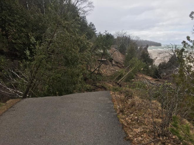 This photo shows erosion damage which occurred in mid-April 2020 along a stretch of the Little Traverse Wheelway west of Petoskey's Magnus Park.