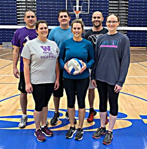 This team won the B League Gold Division Championship in the Watertown Coed Volleyball League at the Prairie Lakes Wellness Center. Team members include Chris Lee, Michelle Lee, Christina Althoff, Bill Voecks, Chad Rumpza and Vicki Sonne.