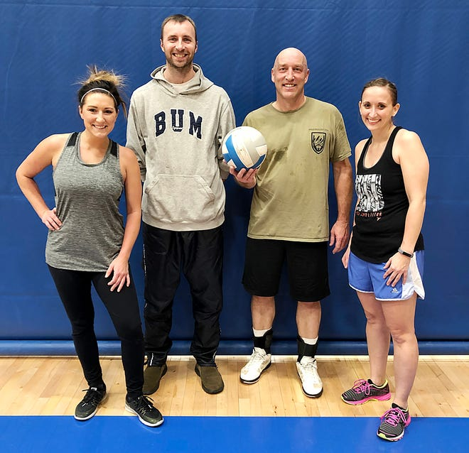 This team won the A League Championship in the Watertown Coed Volleyball League at the Prairie Lakes Wellness Center. Team members include, from left, Abby Turbak, Gary Koistinen, Tad Holt and Crystal Neale.
