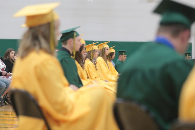 Graduating seniors at Roncalli High School. Photo by Megan Rosendahl