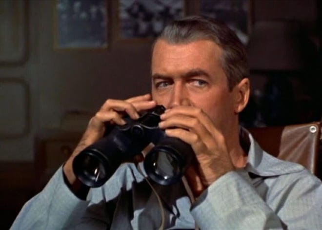 """A pure exercise in suspense, Alfred Hitchcock's """"Rear Window"""" stars James Stewart as photographer L.B. """"Jeff"""" Jefferies, who gets confined to a wheelchair after breaking his leg in an accident."""