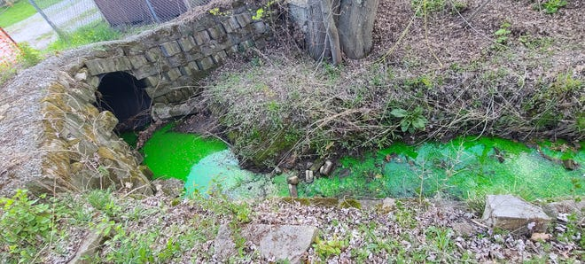 Stormwater around Somerset ran bright green on Tuesday while the EADS Group dye tested water pipes. Somerset Borough Manager Michele Enos said that residents were notified of the testing late last year and they should not worry if they see the green water. Testing will continue Wednesday. Enos said the testing will help workers determine if there are leaks in the borough's pipes.