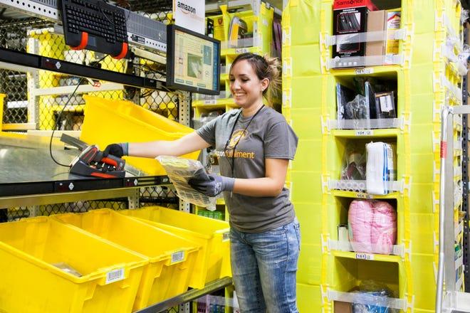 An Amazon fulfillment worker