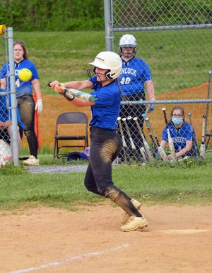 Hancock's Laura Golden slaps a single in the fourth inning for her fourth hit of the game Wednesday at Smithsburg.