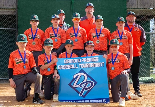 The 12U Renegades won the 2021 Diamond Premier Broken Glass Baseball Bash championship in Newville, Pa., going 4-0 with a 43-10 run differential and defeating the Diamonds Birds 4-3 in the final. From left to right: Front row — Hunter Benedict, Bryce Deneen, Bray Ochs, Landen Kennedy and Kam Mauriello. Middle row — Jaxon Teson, Grant Semler, Nate Nystrom, Konner McMullen and Brady Truett. Back row — coach Dan Nystrom, coach Matt Semler and manager Matt Mauriello.