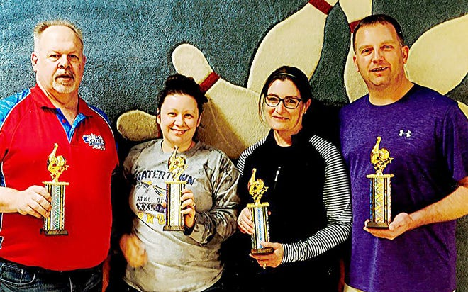 Individual award winners in the 2020-21 Sunday Nite Mixed Couples League at Tommy's Lanes include, from left, Dan McHugh (high men's game, 290), Amanda Karpinske (high women's game, 245), Beth Holzwarth (high women's series, 682) and Josh Waltz (high men's game, 290; and high men's series, 753).