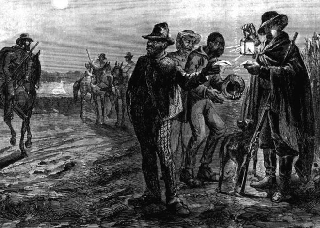 """In an effort to mandate their power over African slaves, government leaders in Charleston, South Carolina, created the first slave patrol, birthing law enforcement as we know it. Not shy to commit acts of terror or violence, the """"patrollers,"""" as these slave patrols were called, took on the responsibilities of chasing down slaves on horseback and returning them to slavery, embedding racism into the system.[Pictured: Depiction of a slave patrol.]"""