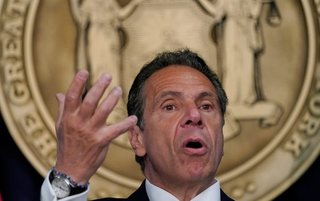 New York Gov. Andrew Cuomo speaks during a May 3, 2021, news conference in which he discussed ending capacity restrictions for most businesses later in the month.