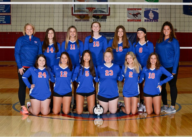 The junior varsity volleyball team members include, front row, from left: Emily Bray, Kyndell Basore, Lucy Elkins, Halie Westgate, Natalie Young and Maridiann Basore. Back row: Junior varsity coach Bethany Chestnut, Katelyn Shelley, Taylor Monroe, Reagan Martin, Makala Gomes, Mallory Mosley and varsity coach Kristen Madorin. (Photo courtesy of Kirkwood Photo Lab)