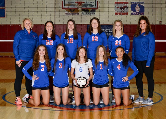 The Owen Valley varsity volleyball team opened their 2020-2021 season with a win over the visiting Shakamak Lakers Monday evening, 3-0. The Lady Patriots will host the Danville Warriors Monday evening beginning at 7:30 p.m. Varsity team members include, front row, from left: Haley Frank, Paige Hamilton, Emma Bault, Lily Wallace and Bre Davis. Back row: Junior varsity coach Bethany Chestnut, Jaylan Kay, Ava Warthen, Kirsten Richardson, Audrey Richardson and Head Coach Kristen Madorin. (Photo courtesy of Kirkwood Photo Lab)