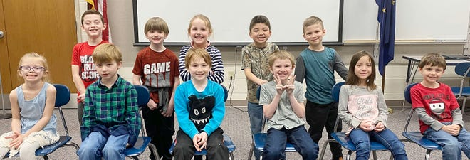 Kindergarten, first and second grade winners for February are, front row:Scarlett Mobley, Warner Wells, Daniel Love, David Maners, Wendy Lewis and Kylar Morgan. Back row: Blake Douglas, Andrew Kilbride, Emma Hogan, Lukus Abbitt and Carter Jones. (Submitted / Spencer Evening World)