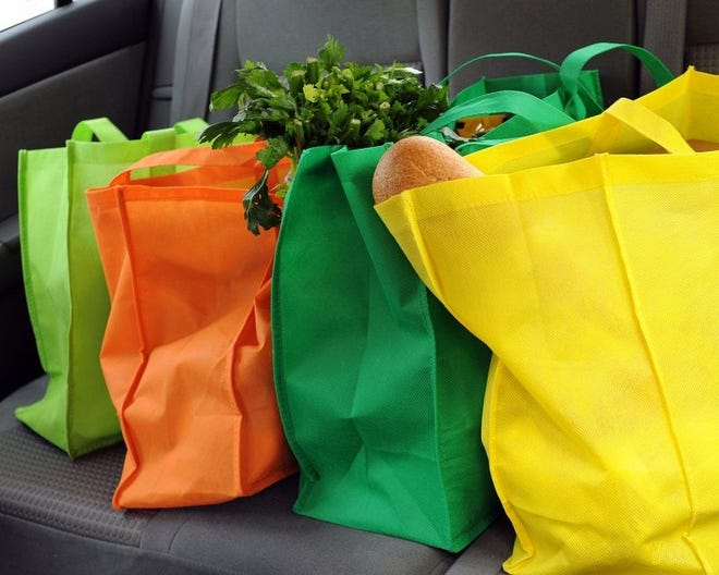 Reusable grocery bags full of produce sitting on a car seat.