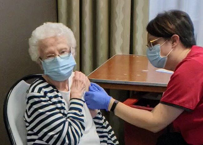 Norma Jean Richey, 94, receives her first dose of the COVID-19 vaccine at the county's vaccination clinic in Bloomington on Jan. 13. Richey is the mother of Monroe County Health Administrator Penny Caudill. (Penny Caudill / Courtesy photo)