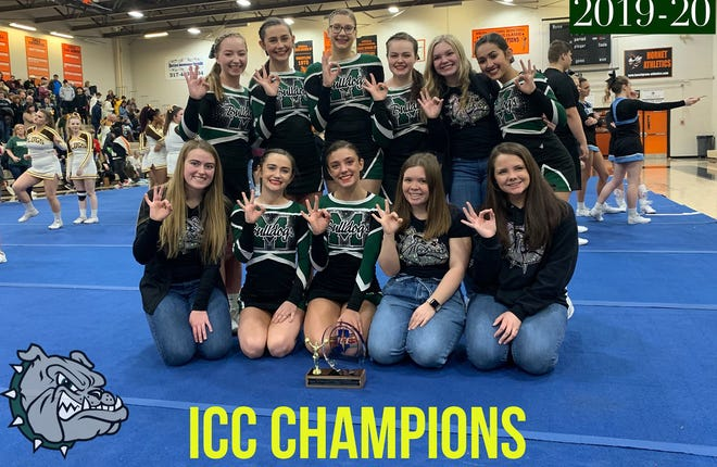 The Monrovia High School cheerleading team and Coach Terrell won the Indiana Crossroads Conference title for the third time. (Courtesy photo / Monrovia High School Athletic Department)