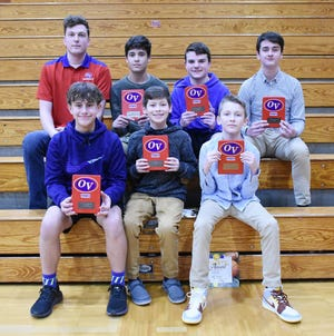 The OVMS 7th grade boys' basketball teams had success this season. The A team finished with a record of 10-10 and the B team was 6-2 on the season. Award winners at Monday night's winter sports banquet include, front row, from left: Calvin Dean (6th Man Award); Cobe Bault (Leadership Award); and Dillon Bell (B-Team MVP). Back row: Coach Kyle Schlachter; Rhett Manuel (Most Improved); Rylan Robinson (Mental Attitude); and Rhett Heckman (A-Team MVP). (Amanda York / Spencer Evening World)