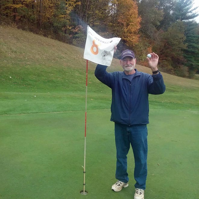 """Lifelong Owen County resident Bob White scored a hole in one at Pine Woods' 85-yard hole #8 recently. Bob used his pitching wedge and thought he was just on the green because he could see his ball from the tee box. The ball was resting against the pin and the edge of the hole. This was Bob's second hole in one on number 8. Witnesses were Duane Cheney, Carl Terrell and Jim Walker. Cheney noted, """"People go through life never seeing anyone get a hole in one, but I've seen three in just a year and a half on the same hole."""" The three were Doug Hanscom, former Spencer Elementary School teacher who passed away this spring, Bob and himself. (Submitted / Spencer Evening World)"""