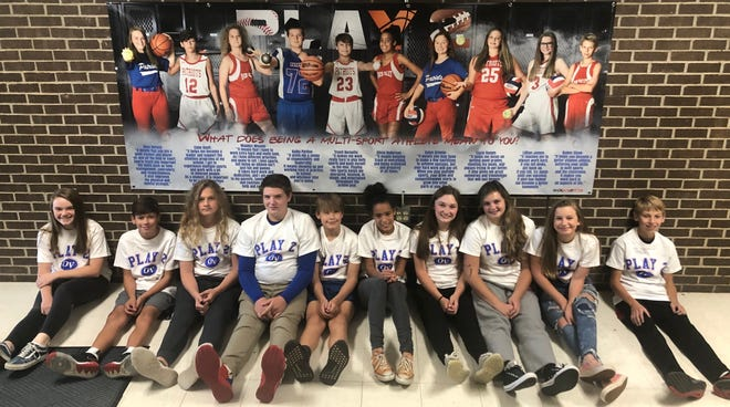 """Owen Valley Middle School recently announced the 'Play 2' athletes, including those chosen for the 2020-2021 poster. """"These are the current 8th graders, that as 7th graders played two or more sports, got no D's or F's on any quarter or semester reports, and received no suspensions throughout the 2019-2020 school year,"""" OVMS athletic director Justin Lowry said. """"The representatives on our poster were randomly drawn via Facebook live this summer. I look forward to seeing what 7th graders qualify for this next year!"""" Athletes chosen for this year's Play2 poster include, from left: Anya DeFord, Cobe Bault, Maddex Weaver, Kolby Pardue, Truett Burnette, Olivia Anderson, Kalyn Greene, Layla Hamm, Lillian James and Kaden Shaw. (Submitted / Spencer Evening World)"""