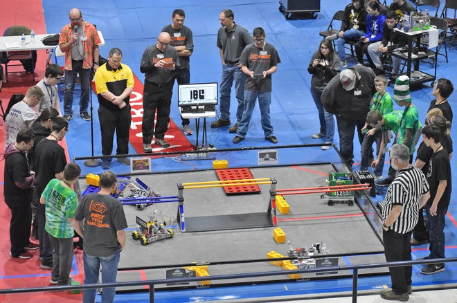 Owen Valley High School was the site of a First Tech Challenge robotics competition Saturday. The successful competition ended with one of the local OVHS teams, Toirtap advancing to the semi-state tournament as part of the winning alliance. More from the event will be featured in a future edition of the Spencer Evening World. Toirtap team members include: Drew McCullough, Jeremiah Merrick, David Heidrick and Dalton Steward. (Casey Shively / Spencer Evening World)